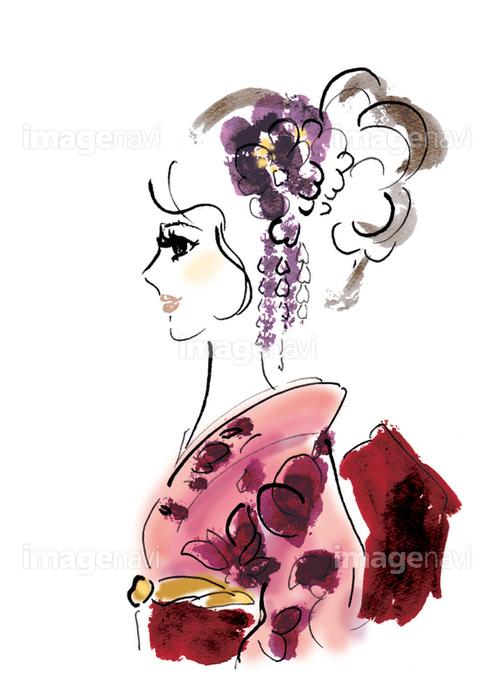 着物の横顔の女性の画像素材32270015 イラスト素材ならイメージナビ