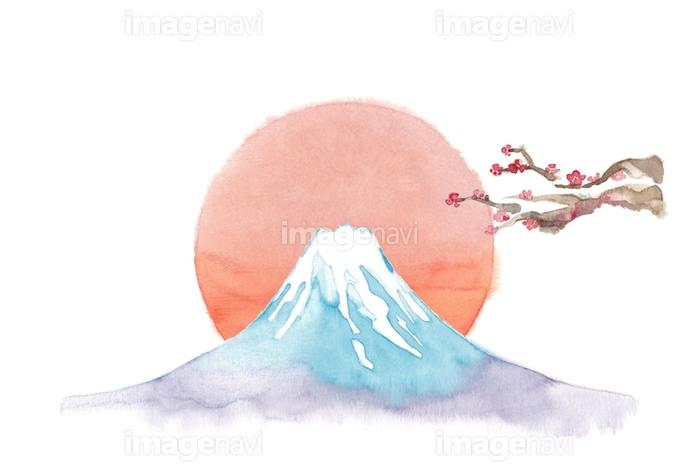 富士山 日の出 梅 の画像素材 32350241 イラスト素材なら