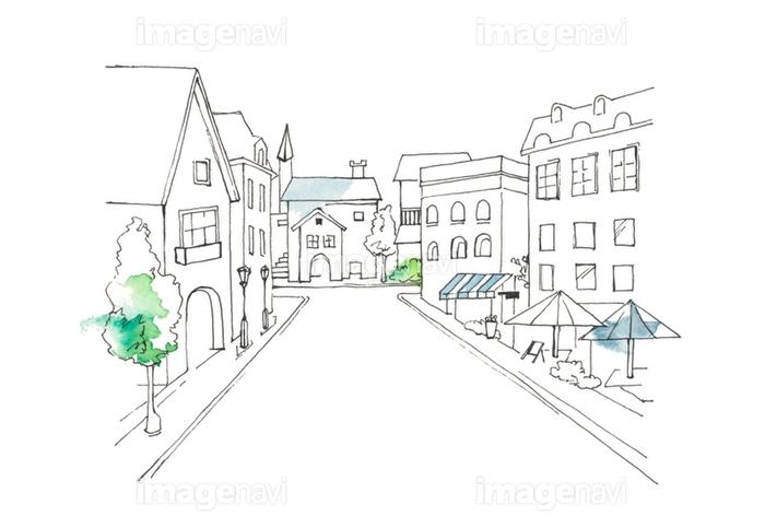 ヨーロッパの街並線描の画像素材32350553 イラスト素材なら
