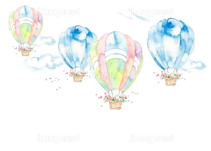 気球風景雲と花かごの画像素材32350661 イラスト素材なら