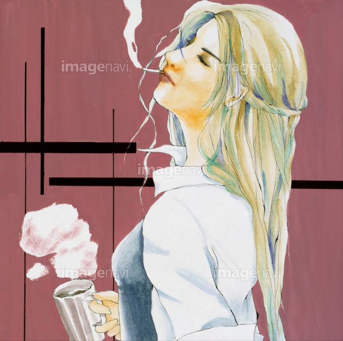 タバコ 女の子 イラスト