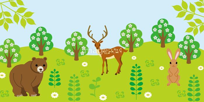 森と動物の画像素材40522429 イラスト素材ならイメージナビ