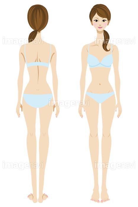 下着の女性 全身 正面と後ろ姿 の画像素材 イラスト素材ならイメージナビ