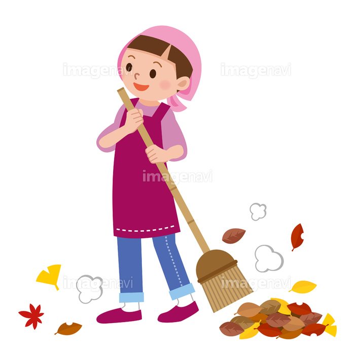 落ち葉掃きをする主婦 の画像素材 40529853 イラスト素材なら