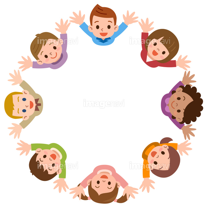 見上げる笑顔の子供たち の画像素材 イラスト素材ならイメージナビ