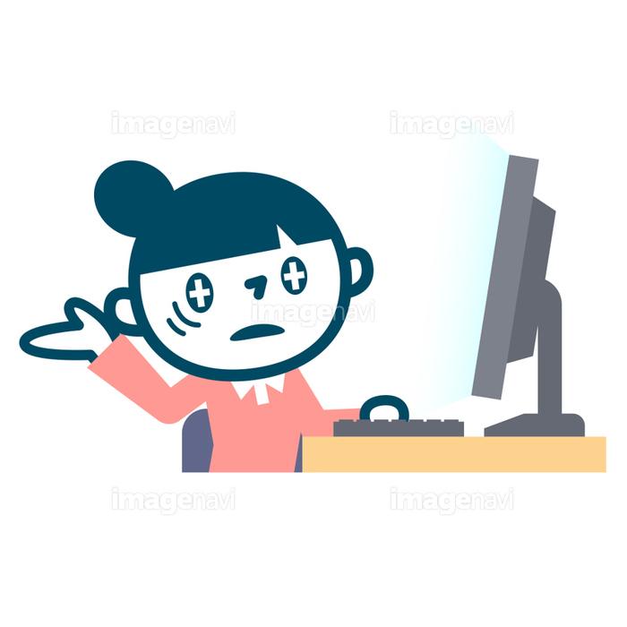 パソコンと疲れたol女子の画像素材40586538 イラスト素材なら