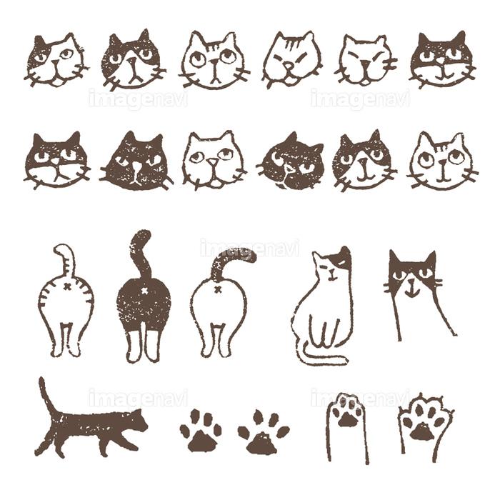いろいろ猫 顔 おしり 肉球イラスト の画像素材 41021092