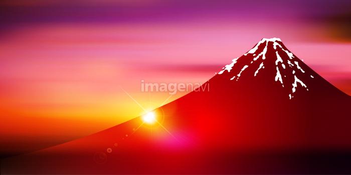 富士山 日の出 風景 背景 の画像素材 41031664 イラスト素材なら