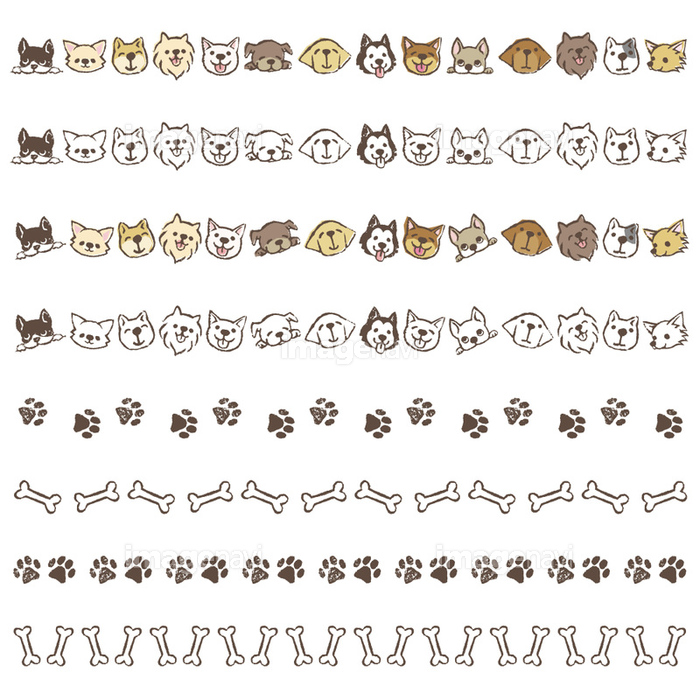 いろいろな種類の犬 骨や足跡の飾り罫線 の画像素材 イラスト素材ならイメージナビ