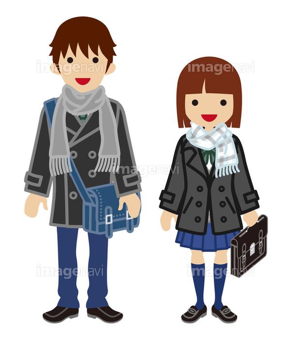 学生カップル 冬服 ボブヘアの画像素材41069836 イラスト素材なら