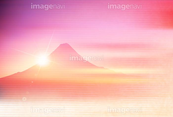 富士山 年賀状 日の出 背景 の画像素材 41103333 イラスト素材