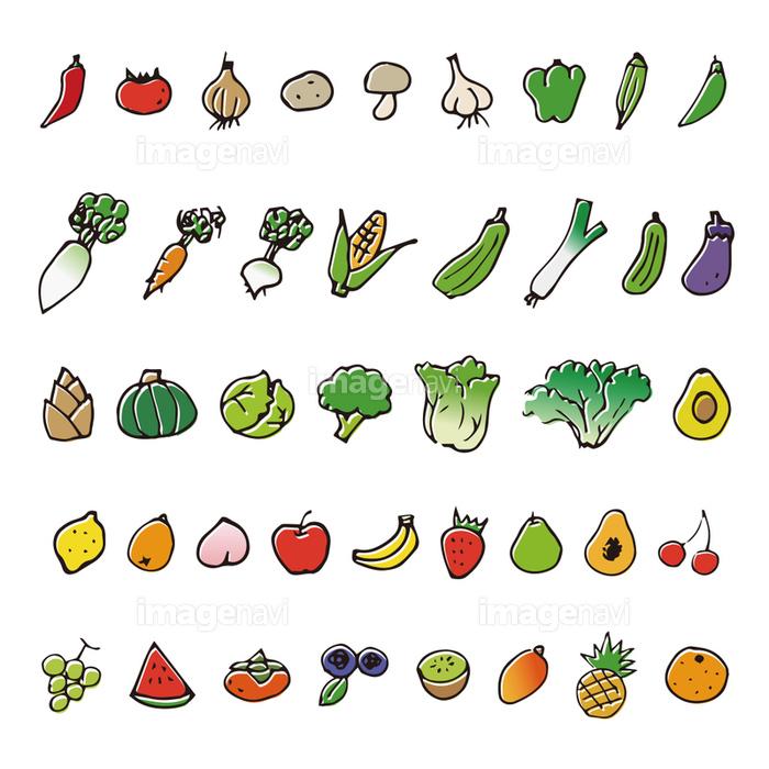 手描きの野菜と果物スケッチイラストの画像素材41110225 イラスト