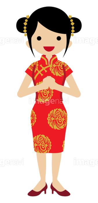 中国の民族衣装を着た若い女性 正面の画像素材41122682 イラスト