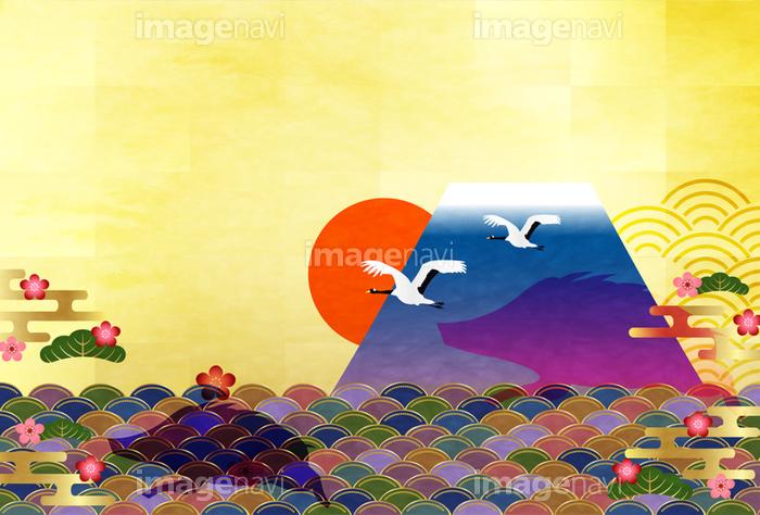 富士山 日の出 年賀状 背景 の画像素材 41141259 イラスト素材なら