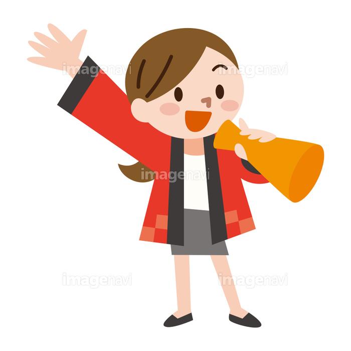 ハッピを着た女性販売員 メガホンの画像素材41201607 イラスト素材